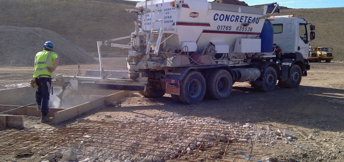 Volumetric delivery for footings in Potgate Quarry