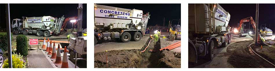 Night concrete work